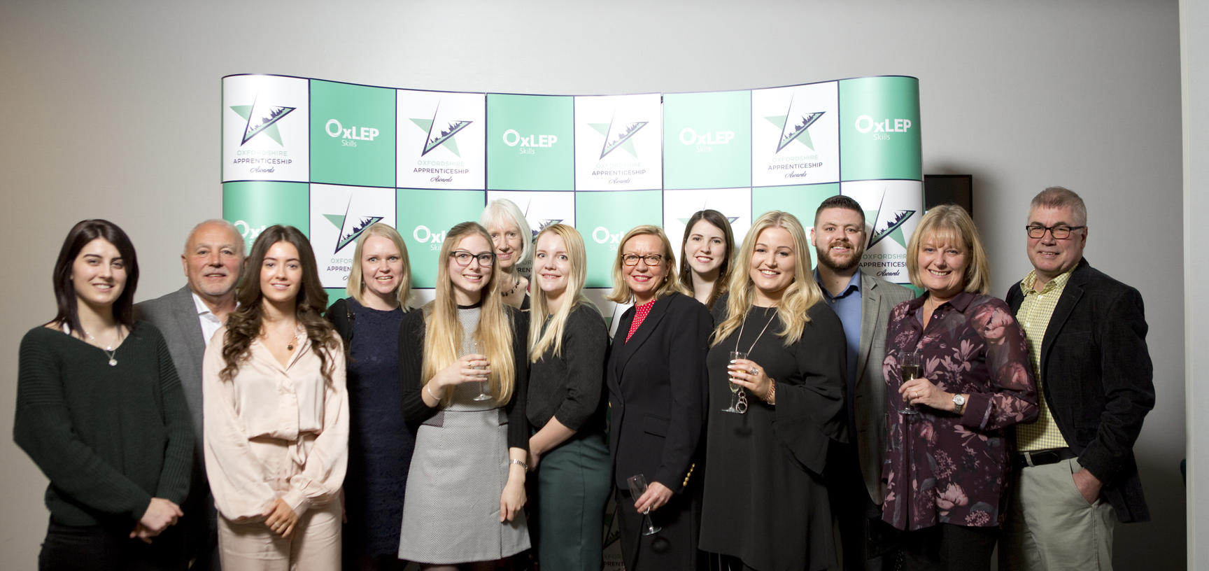 A mixed group of university members, made up of apprentices, their managers and the Apprenticeships team at the 2019 Oxfordshire Apprenticeship awards