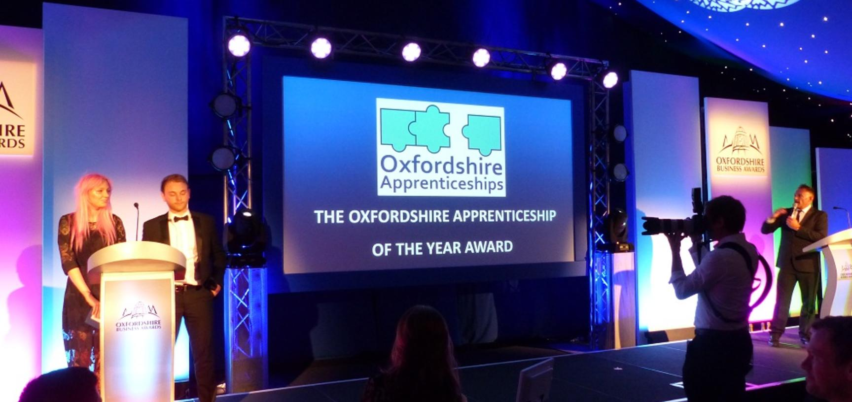 University of Oxford apprentice, Sophie, on stage at the Oxfordshire Apprenticeship Awards 2018