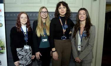 Four of our business administration apprentice ambassadors stood at the University Apprenticeships stand at the 2019 Apprenticeship expo and awards event