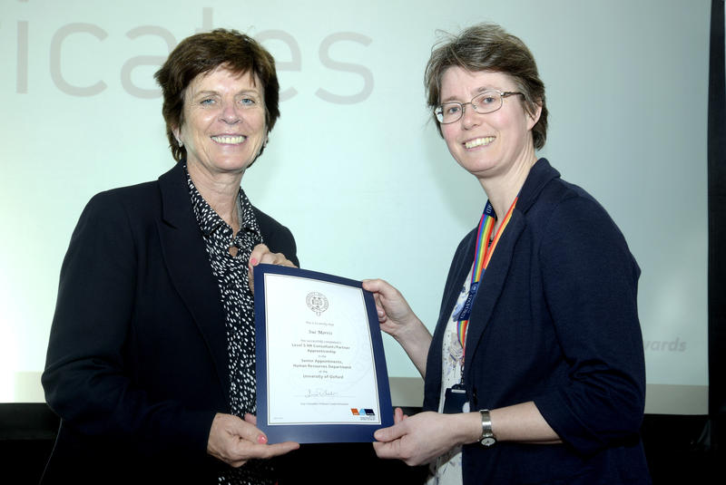 University of Oxford Apprenticeship Awards, Sue Morris completion certificate from Vice Chancellor