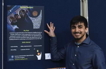 Apprentice Taimur at the Apprenticeship expo & awards, winner of the poster competition